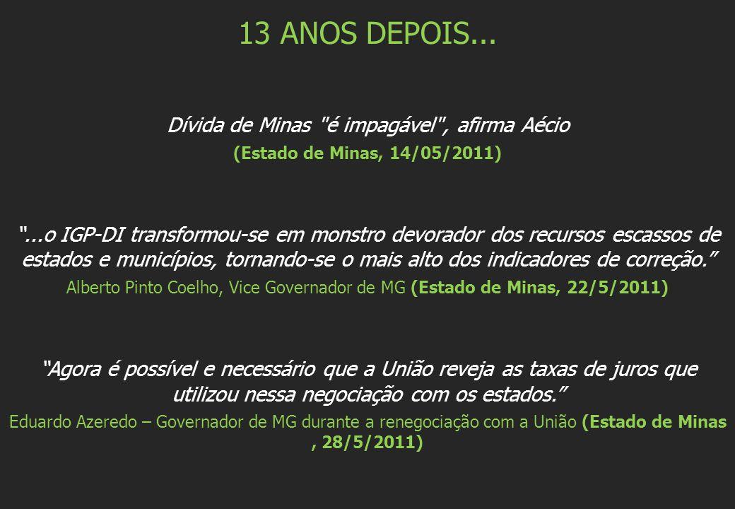 13 ANOS DEPOIS... Dívida de Minas