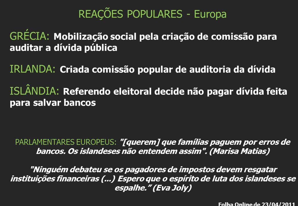 REAÇÕES POPULARES - Europa GRÉCIA: Mobilização social pela criação de comissão para auditar a dívida pública IRLANDA: Criada comissão popular de audit