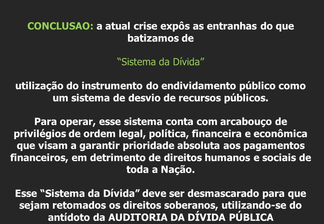 CONCLUSAO: a atual crise expôs as entranhas do que batizamos de Sistema da Dívida utilização do instrumento do endividamento público como um sistema d