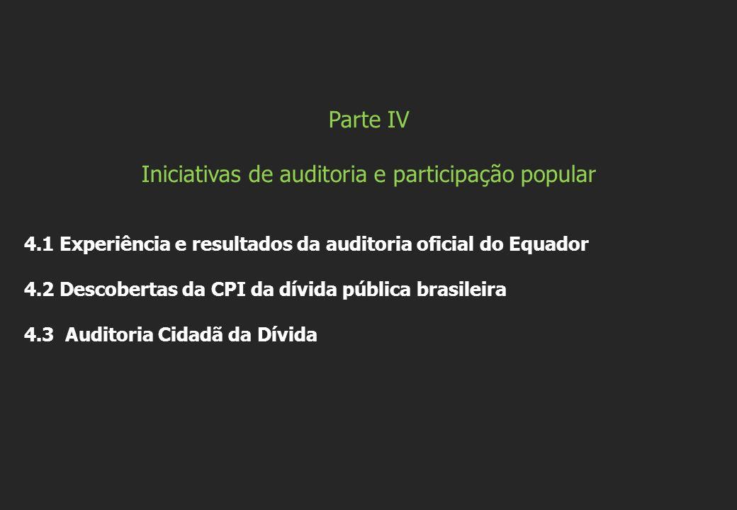 Parte IV Iniciativas de auditoria e participação popular 4.1 Experiência e resultados da auditoria oficial do Equador 4.2 Descobertas da CPI da dívida