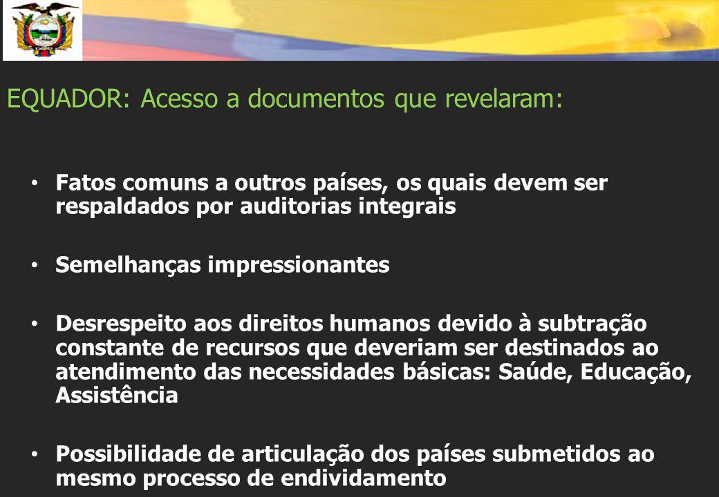 EQUADOR: Acesso a documentos que revelaram: Fatos comuns a outros países, os quais devem ser respaldados por auditorias integrais Semelhanças impressi