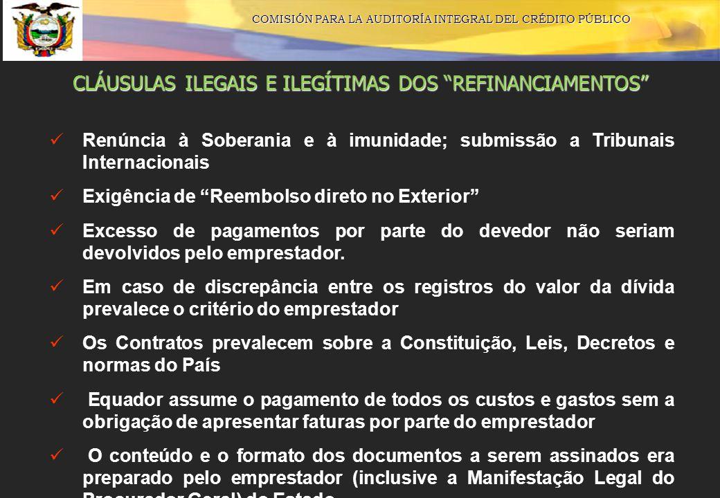 COMISIÓN PARA LA AUDITORÍA INTEGRAL DEL CRÉDITO PÚBLICO CLÁUSULAS ILEGAIS E ILEGÍTIMAS DOS REFINANCIAMENTOS Renúncia à Soberania e à imunidade; submis