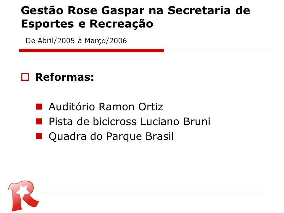 Gestão Rose Gaspar na Secretaria de Esportes e Recreação De Abril/2005 à Março/2006 Reformas: Auditório Ramon Ortiz Pista de bicicross Luciano Bruni Q