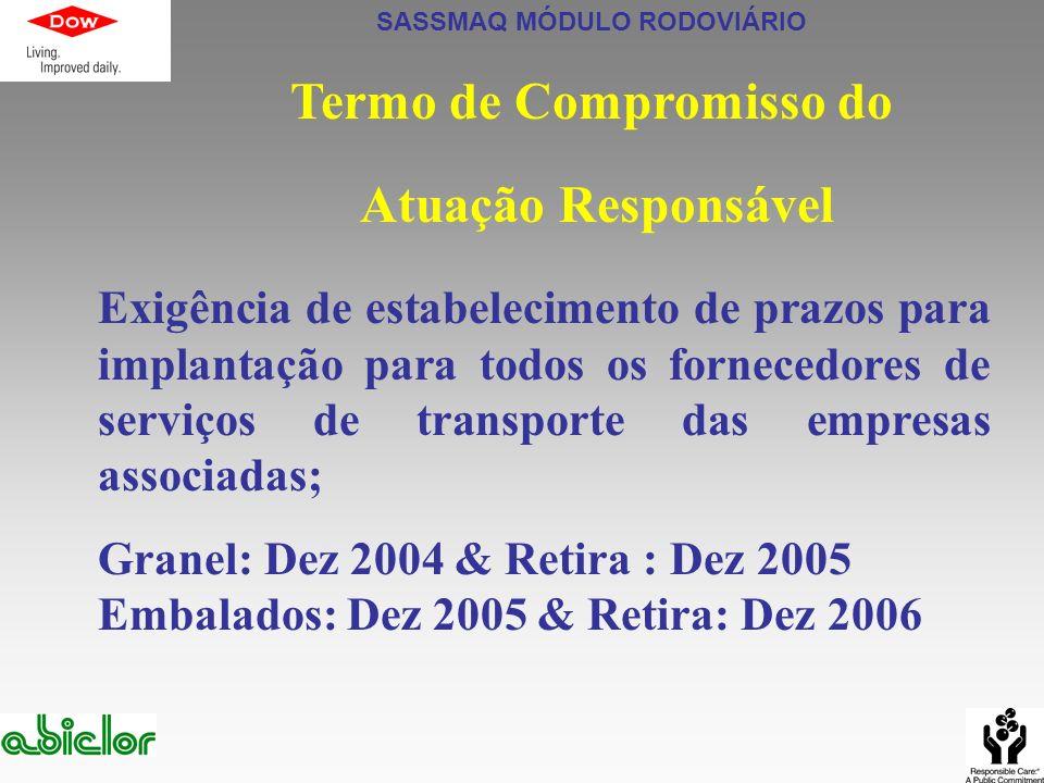 SASSMAQ MÓDULO RODOVIÁRIO Termo de Compromisso do Atuação Responsável Exigência de estabelecimento de prazos para implantação para todos os fornecedor