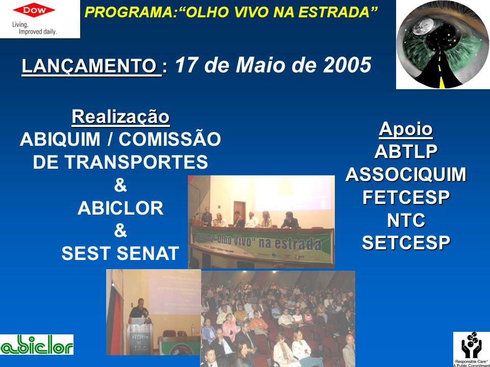 PROGRAMA:OLHO VIVO NA ESTRADARealização ABIQUIM / COMISSÃO DE TRANSPORTES & ABICLOR & SEST SENAT LANÇAMENTO : LANÇAMENTO : 17 de Maio de 2005 ApoioABT