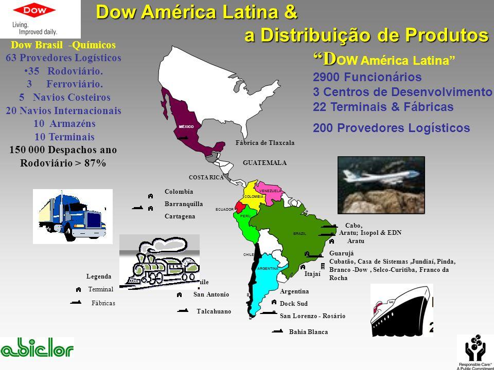 D D OW América Latina 2900 Funcionários 3 Centros de Desenvolvimento 22 Terminais & Fábricas 200 Provedores Logísticos MÉXICO GUATEMALA COSTA RICA COL