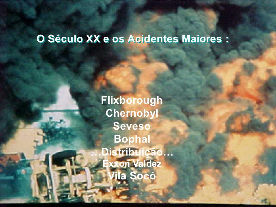 O Século XX e os Acidentes Maiores : Flixborough Chernobyl Seveso Bophal …Distribuição… Exxon Valdez Vila Socó