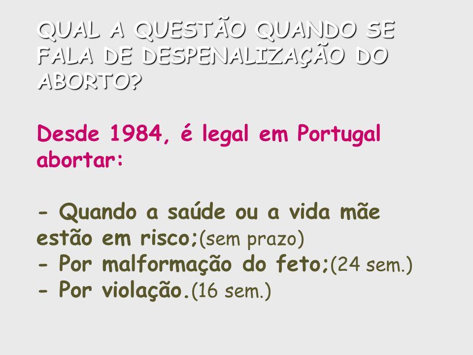 QUAL A QUESTÃO QUANDO SE FALA DE DESPENALIZAÇÃO DO ABORTO? QUAL A QUESTÃO QUANDO SE FALA DE DESPENALIZAÇÃO DO ABORTO? Desde 1984, é legal em Portugal