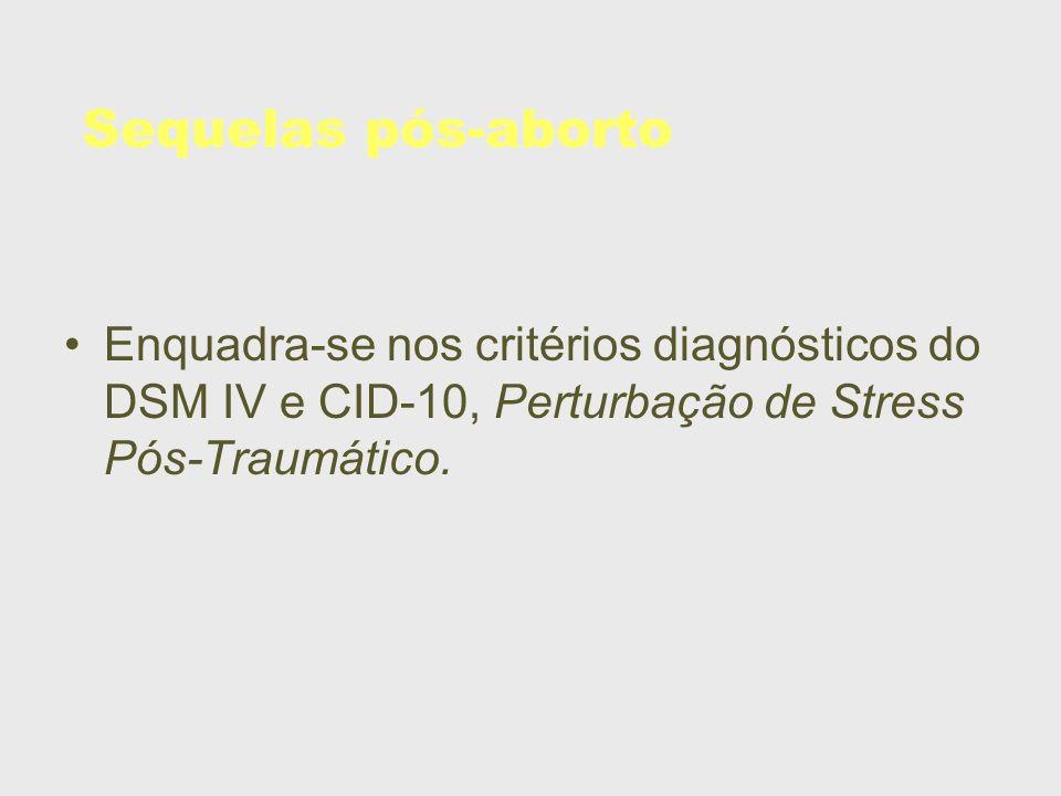 Sequelas pós-aborto Enquadra-se nos critérios diagnósticos do DSM IV e CID-10, Perturbação de Stress Pós-Traumático.