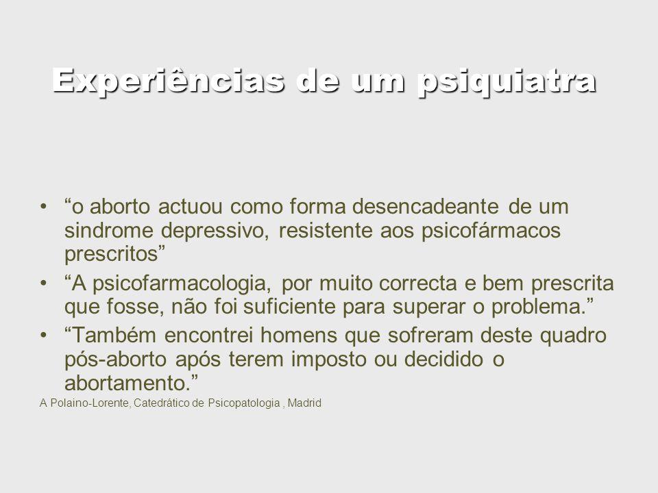 Experiências de um psiquiatra o aborto actuou como forma desencadeante de um sindrome depressivo, resistente aos psicofármacos prescritos A psicofarma