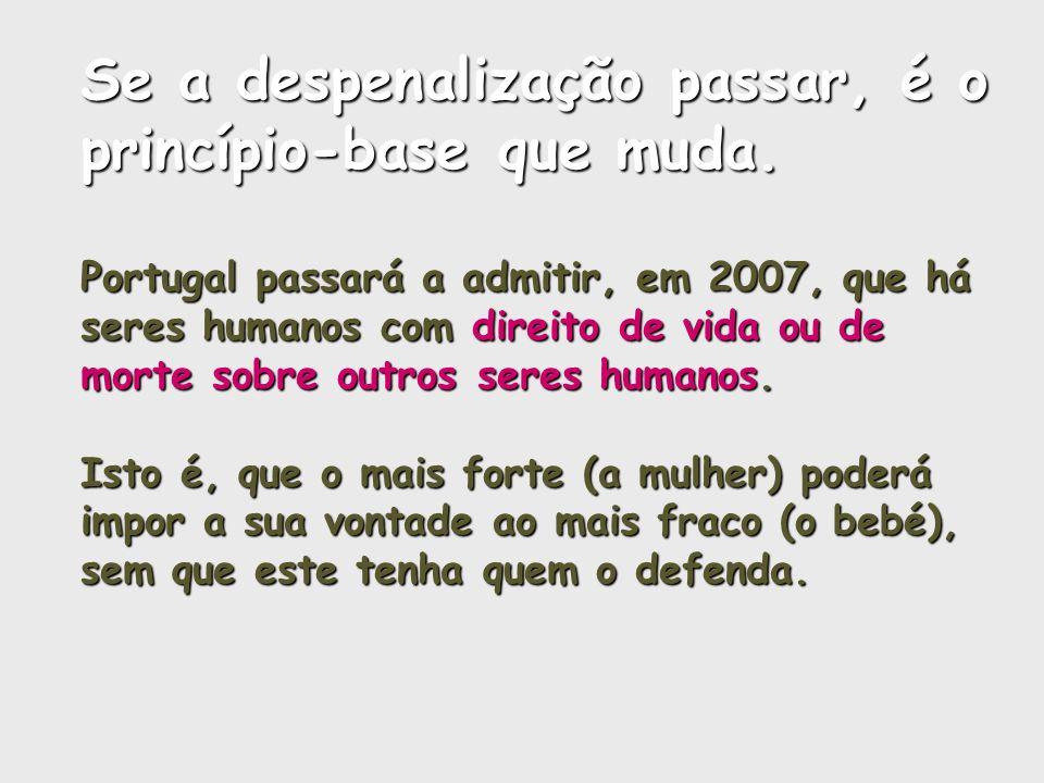 Se a despenalização passar, é o princípio-base que muda. Portugal passará a admitir, em 2007, que há seres humanos com direito de vida ou de morte sob