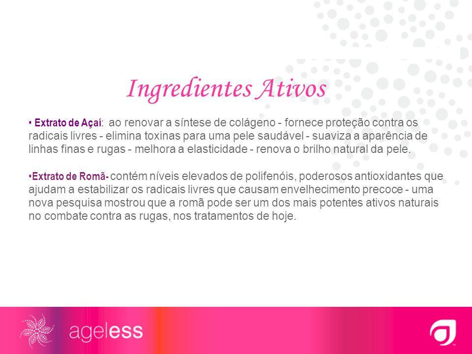 Extrato de Açaí : ao renovar a síntese de colágeno - fornece proteção contra os radicais livres - elimina toxinas para uma pele saudável - suaviza a a