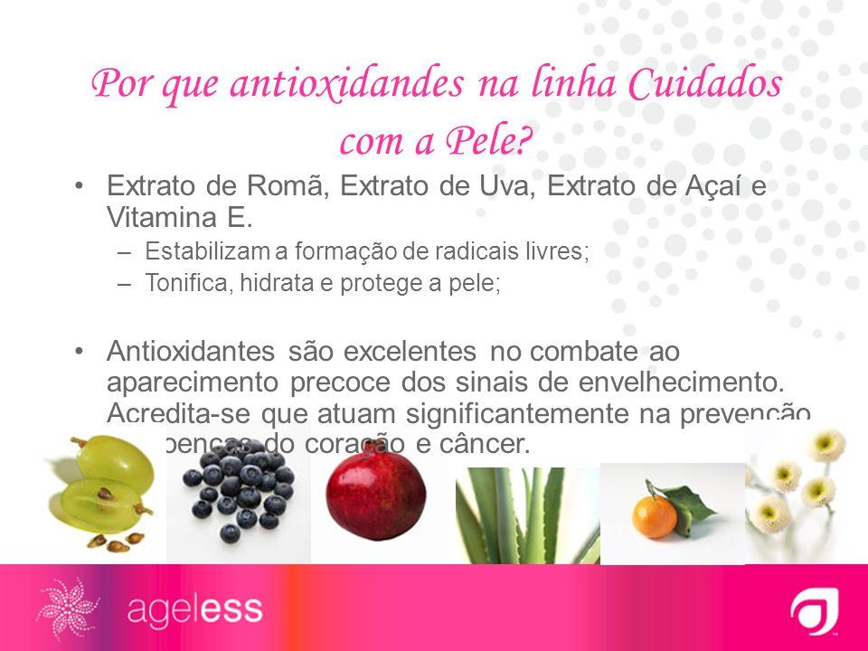 Por que antioxidandes na linha Cuidados com a Pele? Extrato de Romã, Extrato de Uva, Extrato de Açaí e Vitamina E. –Estabilizam a formação de radicais
