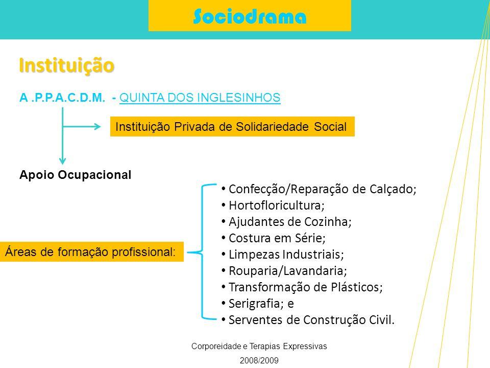 Sociodrama Corporeidade e Terapias Expressivas 2008/2009 Instituição Confecção/Reparação de Calçado; Hortofloricultura; Ajudantes de Cozinha; Costura