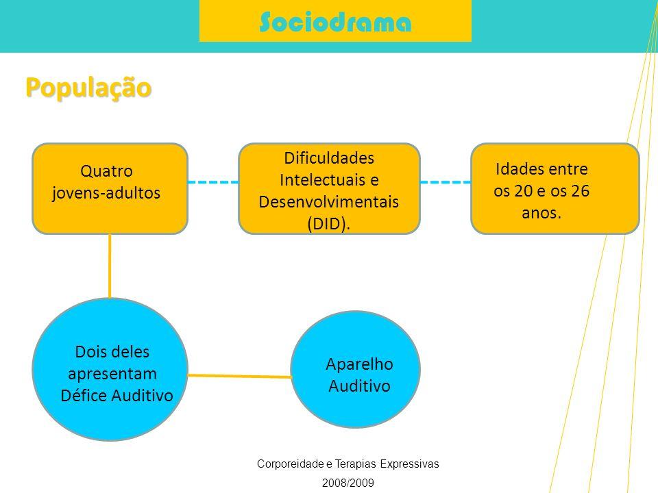 Sociodrama Corporeidade e Terapias Expressivas 2008/2009 População Quatro jovens-adultos Dificuldades Intelectuais e Desenvolvimentais (DID). Idades e