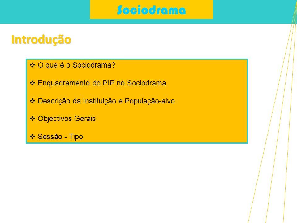 SociodramaIntrodução O que é o Sociodrama? Enquadramento do PIP no Sociodrama Descrição da Instituição e População-alvo Objectivos Gerais Sessão - Tip
