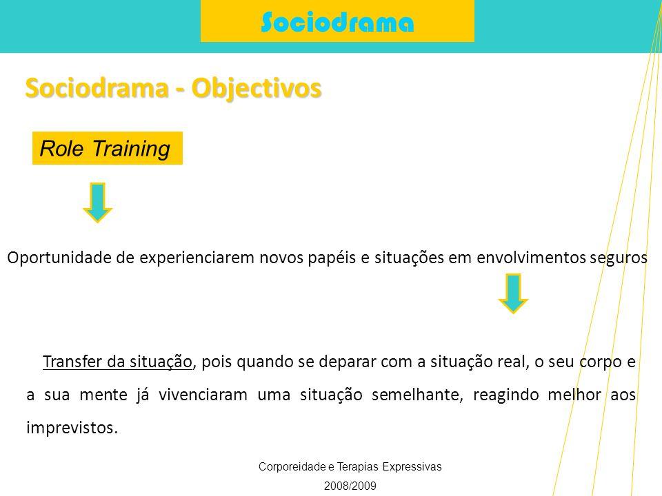 Sociodrama Corporeidade e Terapias Expressivas 2008/2009 Sociodrama - Objectivos Role Training Transfer da situação, pois quando se deparar com a situ