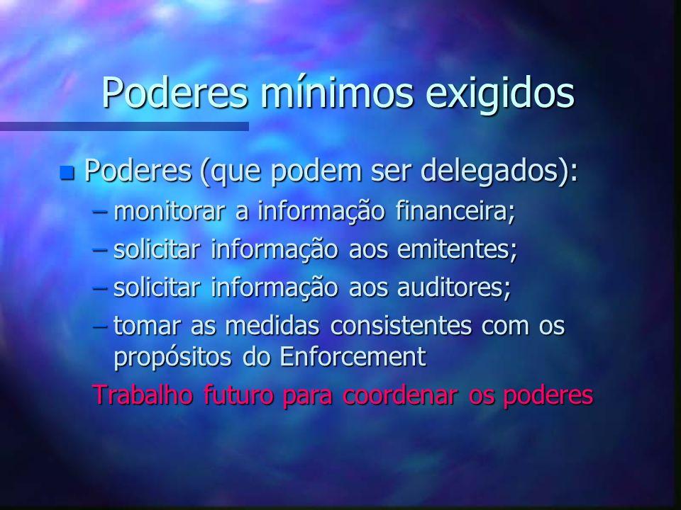 Poderes mínimos exigidos n Poderes (que podem ser delegados): –monitorar a informação financeira; –solicitar informação aos emitentes; –solicitar info