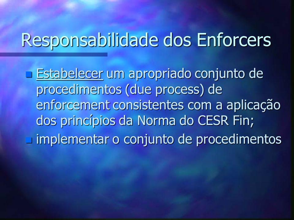 Responsabilidade dos Enforcers n Estabelecer um apropriado conjunto de procedimentos (due process) de enforcement consistentes com a aplicação dos pri