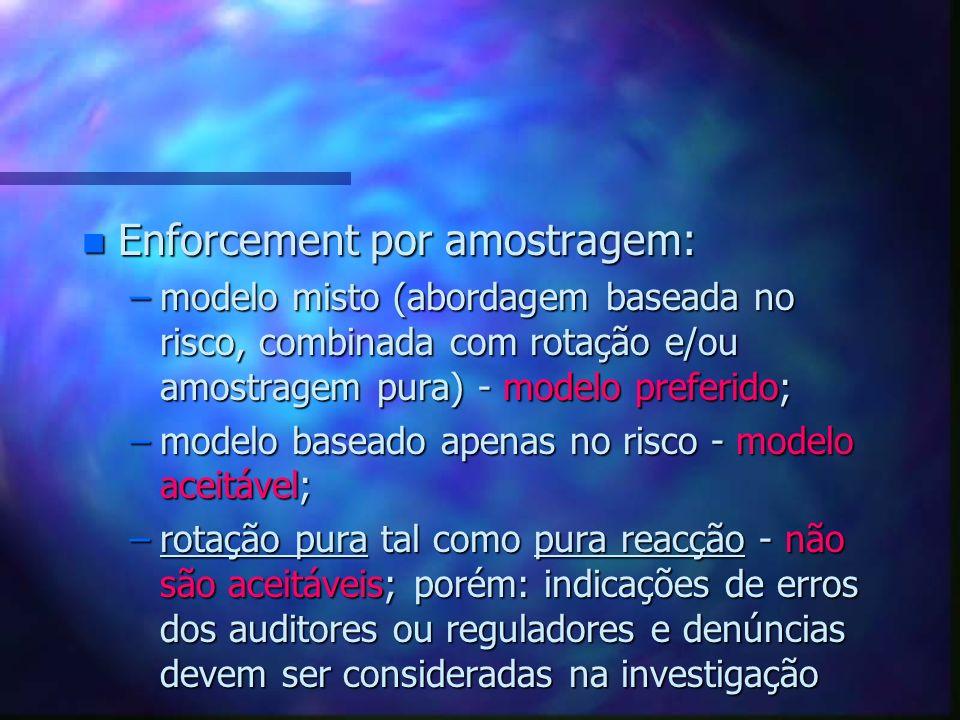 n Enforcement por amostragem: –modelo misto (abordagem baseada no risco, combinada com rotação e/ou amostragem pura) - modelo preferido; –modelo basea