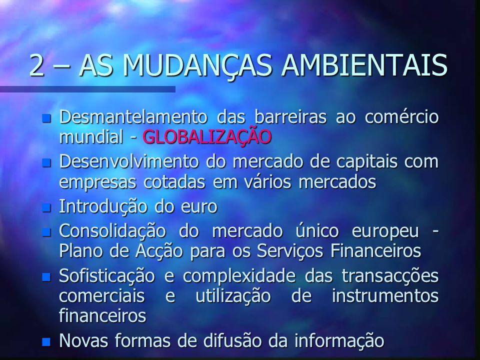 2 – AS MUDANÇAS AMBIENTAIS n Desmantelamento das barreiras ao comércio mundial - GLOBALIZAÇÃO n Desenvolvimento do mercado de capitais com empresas co