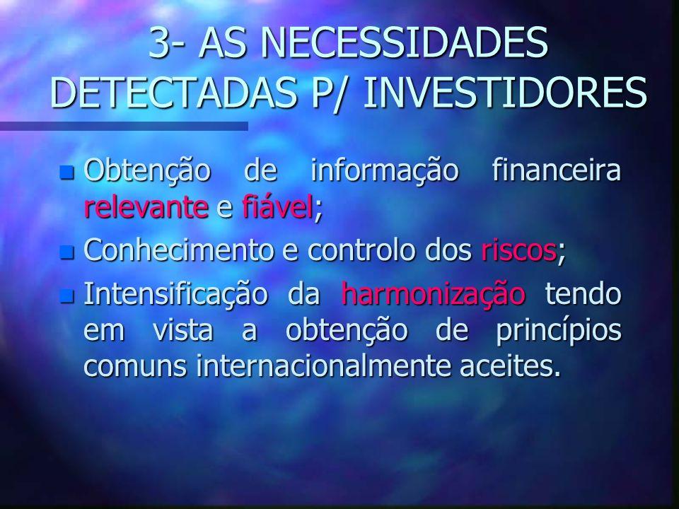 3- AS NECESSIDADES DETECTADAS P/ INVESTIDORES n Obtenção de informação financeira relevante e fiável; n Conhecimento e controlo dos riscos; n Intensif