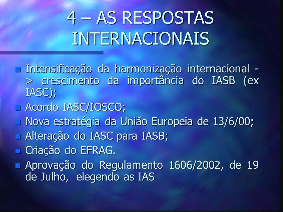 4 – AS RESPOSTAS INTERNACIONAIS n Intensificação da harmonização internacional - > crescimento da importância do IASB (ex IASC); n Acordo IASC/IOSCO;