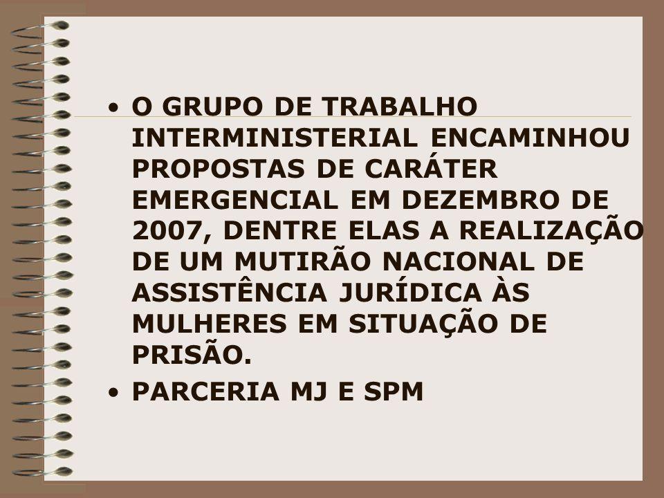 O GRUPO DE TRABALHO INTERMINISTERIAL ENCAMINHOU PROPOSTAS DE CARÁTER EMERGENCIAL EM DEZEMBRO DE 2007, DENTRE ELAS A REALIZAÇÃO DE UM MUTIRÃO NACIONAL