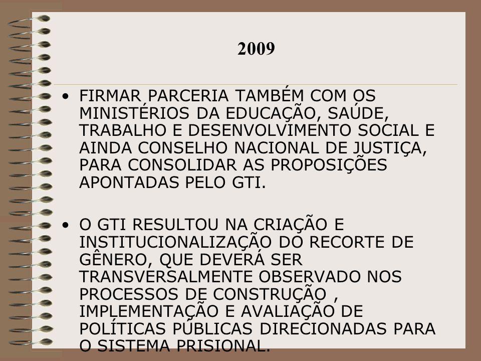 2009 FIRMAR PARCERIA TAMBÉM COM OS MINISTÉRIOS DA EDUCAÇÃO, SAÚDE, TRABALHO E DESENVOLVIMENTO SOCIAL E AINDA CONSELHO NACIONAL DE JUSTIÇA, PARA CONSOL