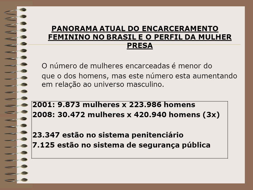 PANORAMA ATUAL DO ENCARCERAMENTO FEMININO NO BRASIL E O PERFIL DA MULHER PRESA O número de mulheres encarceadas é menor do que o dos homens, mas este