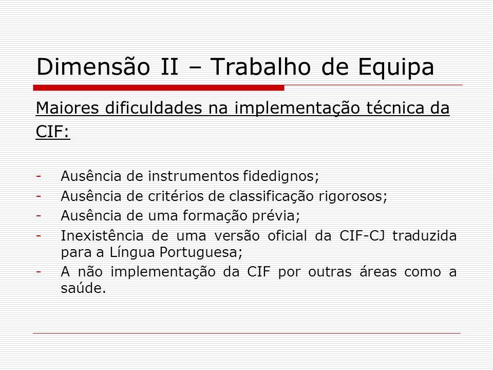 Dimensão II – Trabalho de Equipa Maiores dificuldades na implementação técnica da CIF: -Ausência de instrumentos fidedignos; -Ausência de critérios de