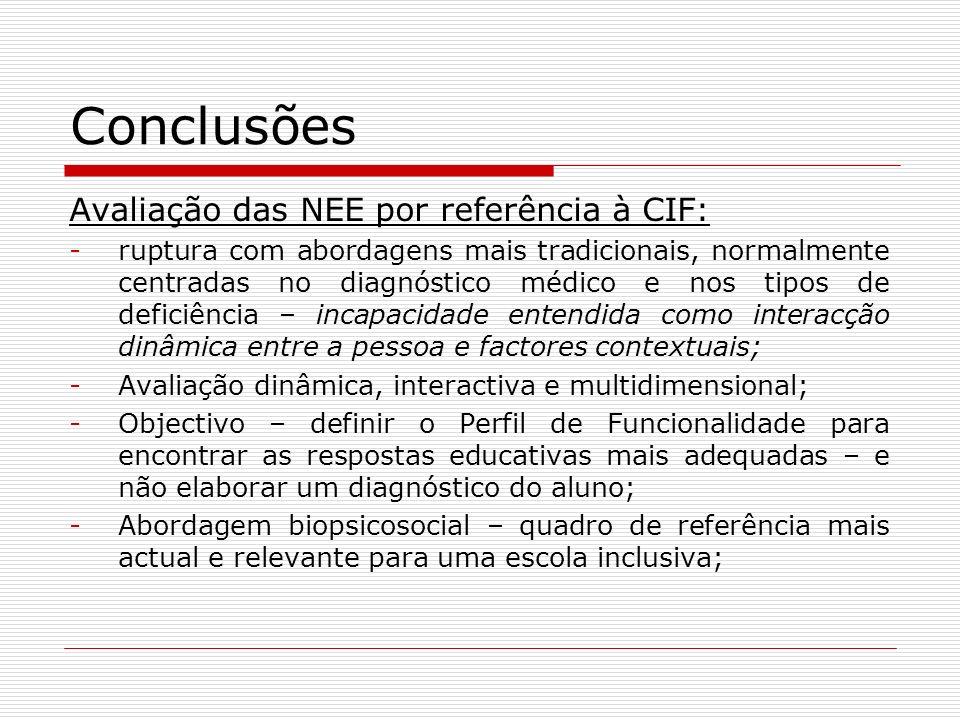 Conclusões Avaliação das NEE por referência à CIF: -ruptura com abordagens mais tradicionais, normalmente centradas no diagnóstico médico e nos tipos