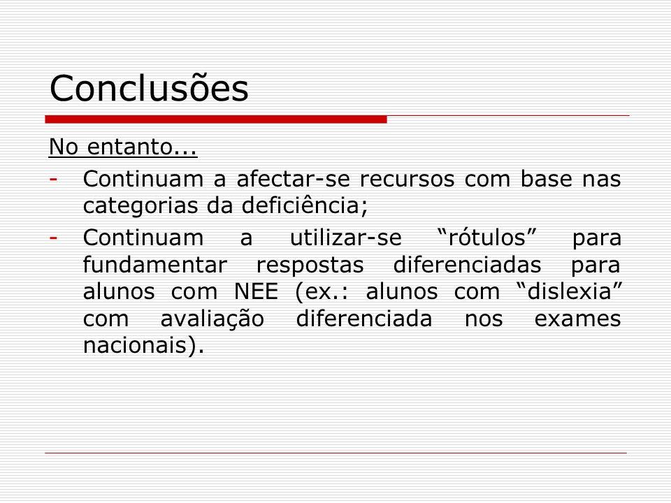 Conclusões No entanto... -Continuam a afectar-se recursos com base nas categorias da deficiência; -Continuam a utilizar-se rótulos para fundamentar re