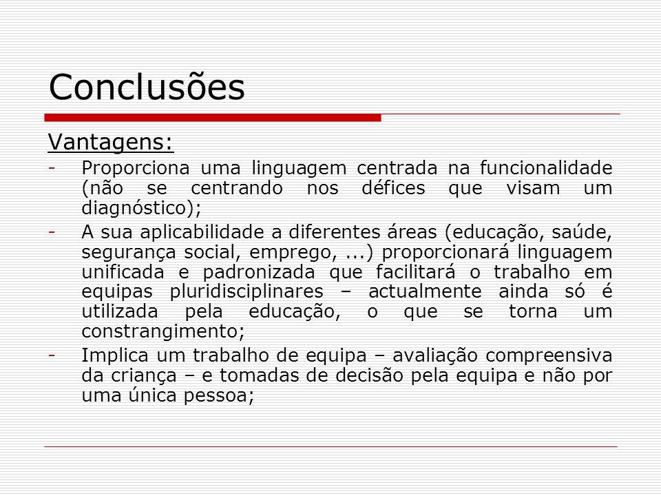 Conclusões Vantagens: -Proporciona uma linguagem centrada na funcionalidade (não se centrando nos défices que visam um diagnóstico); -A sua aplicabili