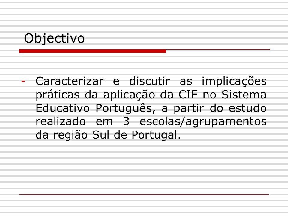 -Caracterizar e discutir as implicações práticas da aplicação da CIF no Sistema Educativo Português, a partir do estudo realizado em 3 escolas/agrupam