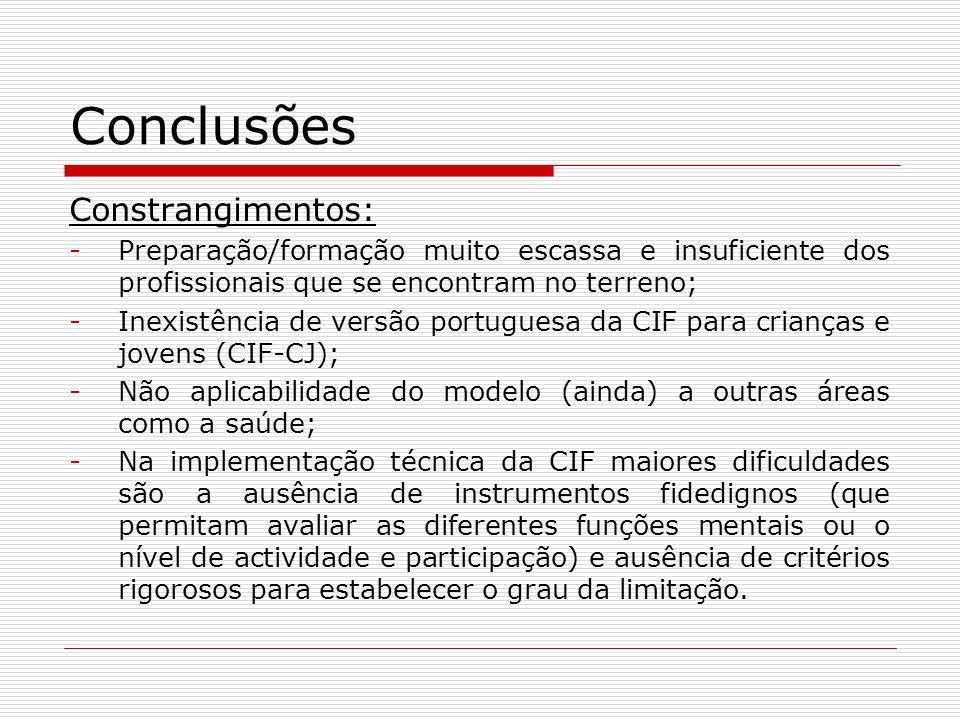 Conclusões Constrangimentos: -Preparação/formação muito escassa e insuficiente dos profissionais que se encontram no terreno; -Inexistência de versão