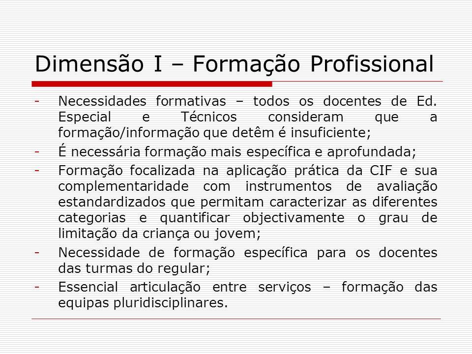 Dimensão I – Formação Profissional -Necessidades formativas – todos os docentes de Ed. Especial e Técnicos consideram que a formação/informação que de