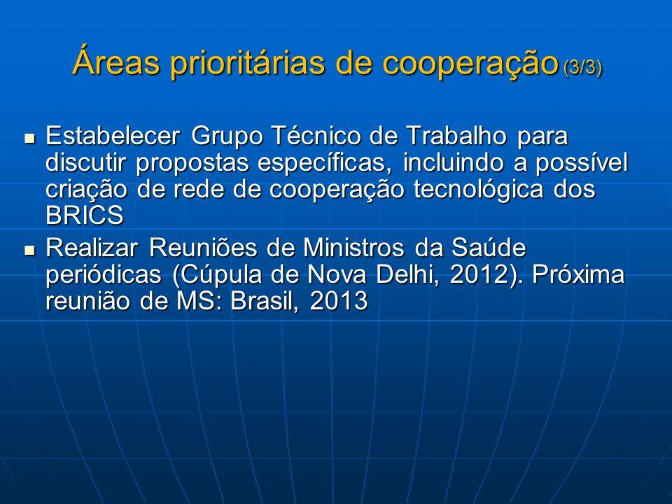Áreas prioritárias de cooperação (3/3) Estabelecer Grupo Técnico de Trabalho para discutir propostas específicas, incluindo a possível criação de rede