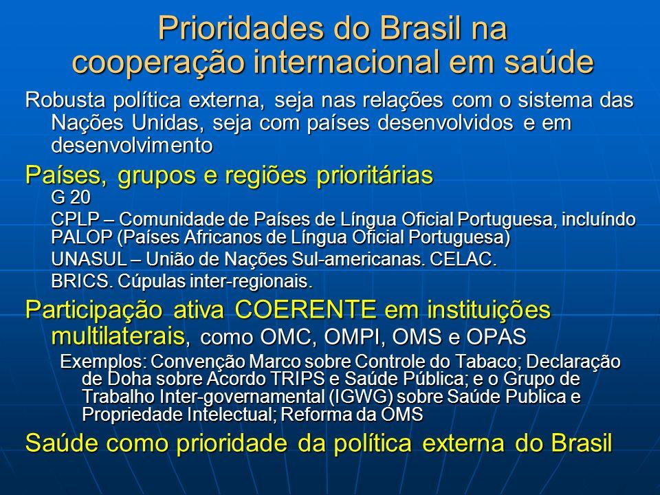 Prioridades do Brasil na cooperação internacional em saúde Robusta política externa, seja nas relações com o sistema das Nações Unidas, seja com paíse