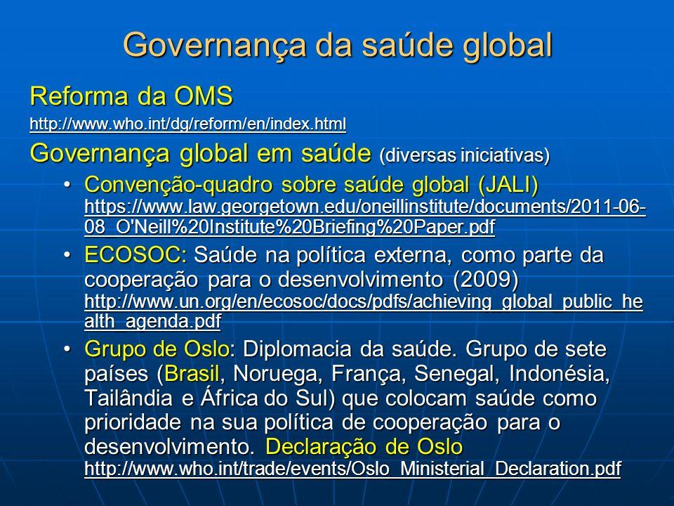 Governança da saúde global Reforma da OMS http://www.who.int/dg/reform/en/index.html Governança global em saúde (diversas iniciativas) Convenção-quadr