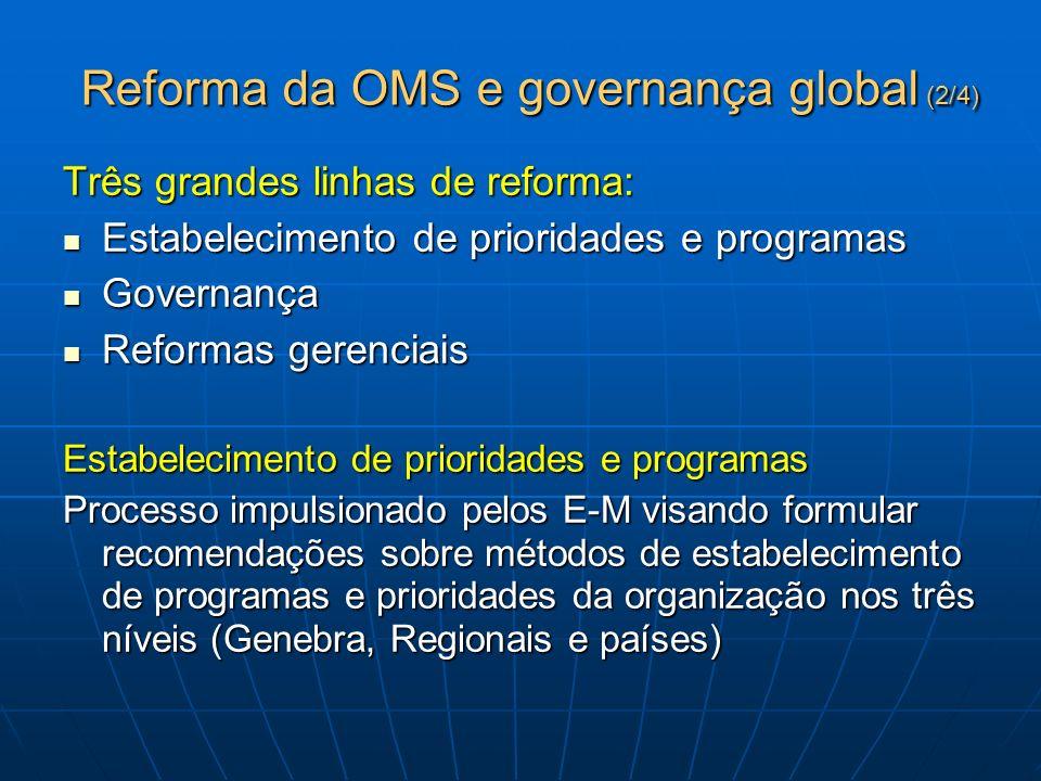 Reforma da OMS e governança global (2/4) Três grandes linhas de reforma: Estabelecimento de prioridades e programas Estabelecimento de prioridades e p