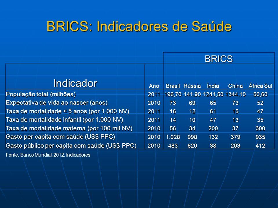 BRICS IndicadorAnoBrasilRússiaÍndiaChina África Sul População total (milhões) 2011196,70141,901241,501344,1050,60 Expectativa de vida ao nascer (anos)