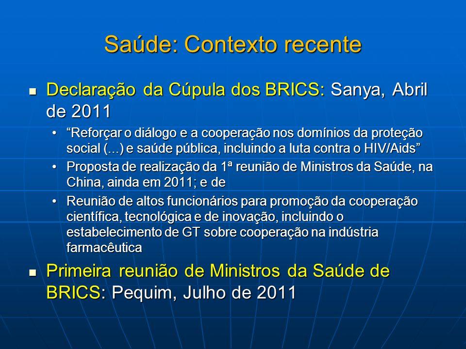 Saúde: Contexto recente Declaração da Cúpula dos BRICS: Sanya, Abril de 2011 Declaração da Cúpula dos BRICS: Sanya, Abril de 2011 Reforçar o diálogo e