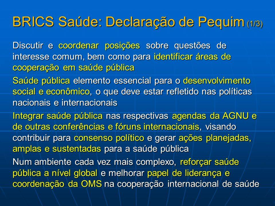 BRICS Saúde: Declaração de Pequim (1/3) Discutir e coordenar posições sobre questões de interesse comum, bem como para identificar áreas de cooperação