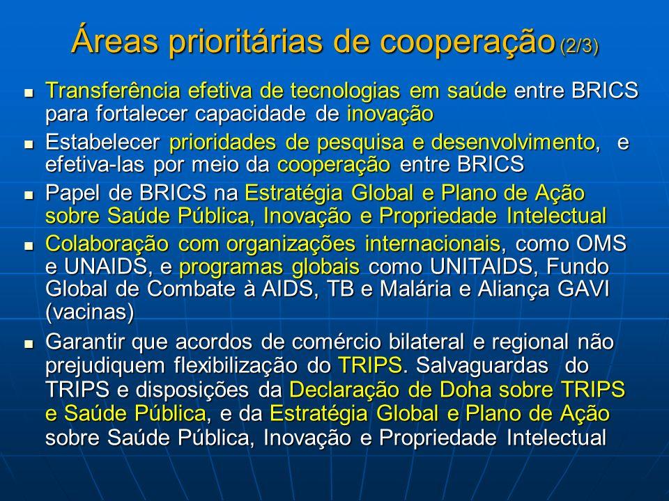 Áreas prioritárias de cooperação (3/3) Estabelecer Grupo Técnico de Trabalho para discutir propostas específicas, incluindo a possível criação de rede de cooperação tecnológica dos BRICS Estabelecer Grupo Técnico de Trabalho para discutir propostas específicas, incluindo a possível criação de rede de cooperação tecnológica dos BRICS Realizar Reuniões de Ministros da Saúde periódicas (Cúpula de Nova Delhi, 2012).
