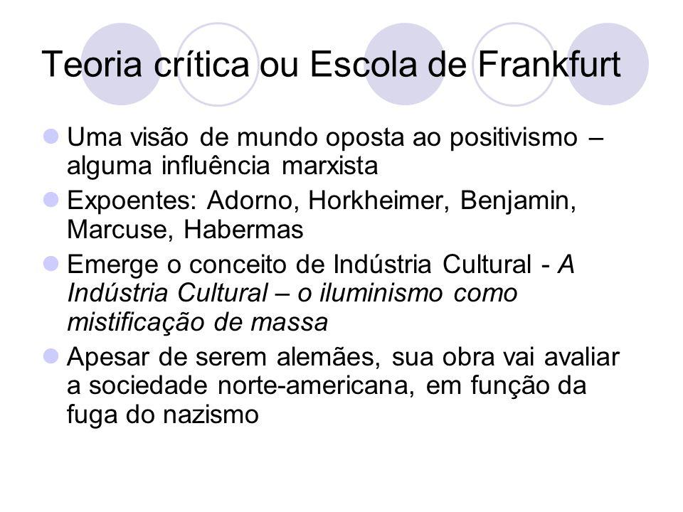 Teoria crítica ou Escola de Frankfurt Uma visão de mundo oposta ao positivismo – alguma influência marxista Expoentes: Adorno, Horkheimer, Benjamin, M