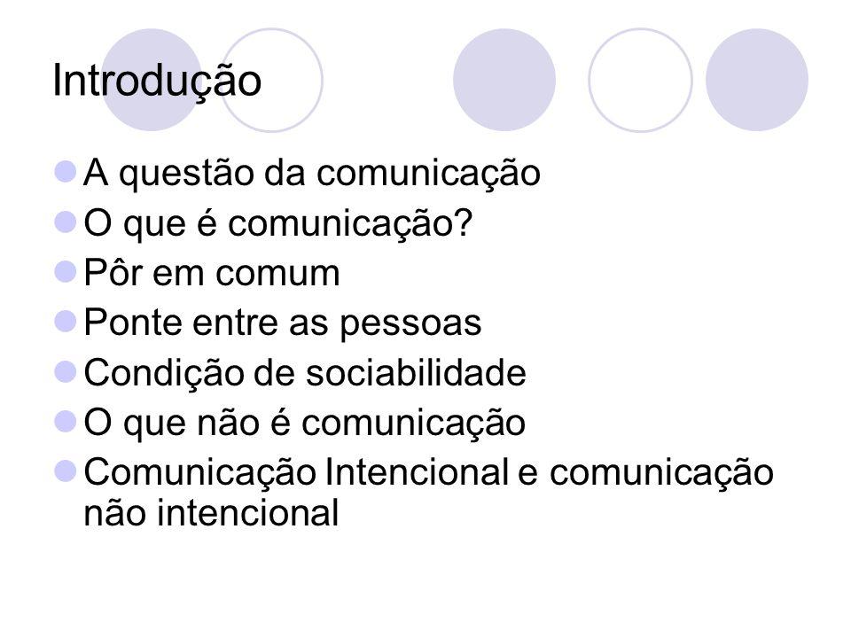 Introdução A questão da comunicação O que é comunicação? Pôr em comum Ponte entre as pessoas Condição de sociabilidade O que não é comunicação Comunic