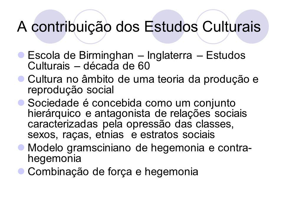 A contribuição dos Estudos Culturais Escola de Birminghan – Inglaterra – Estudos Culturais – década de 60 Cultura no âmbito de uma teoria da produção