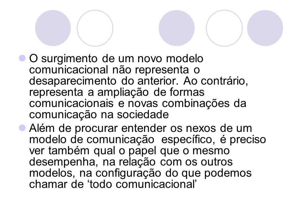 O surgimento de um novo modelo comunicacional não representa o desaparecimento do anterior. Ao contrário, representa a ampliação de formas comunicacio