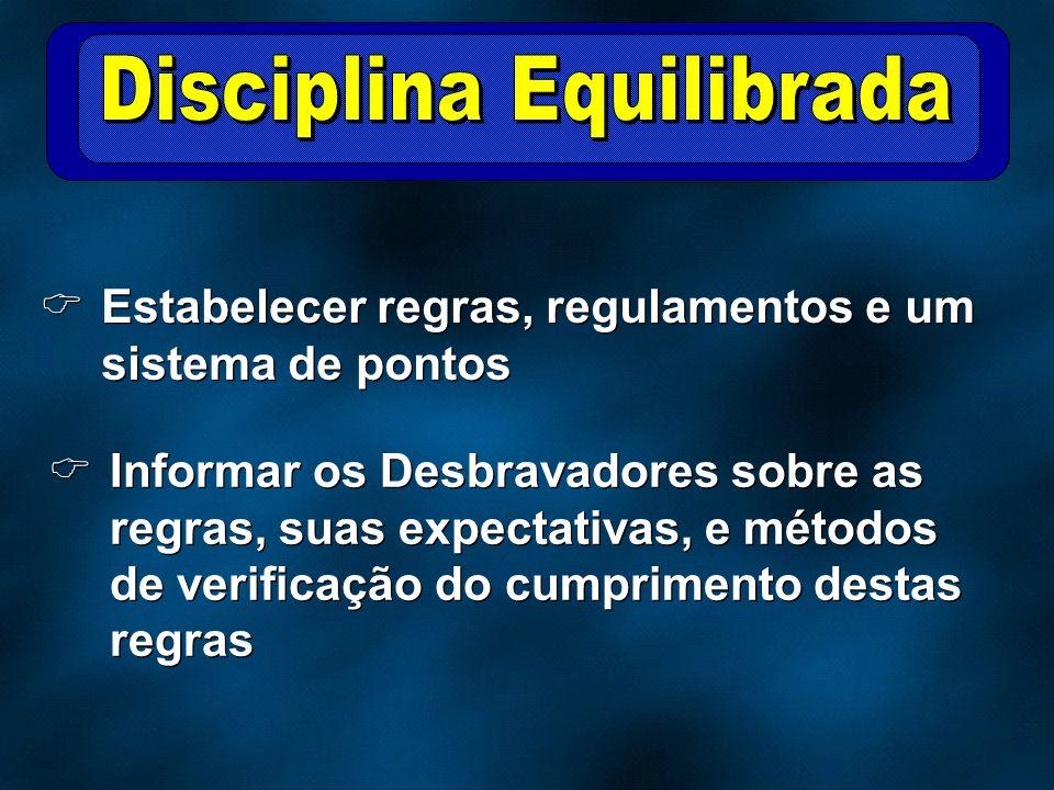 Estabelecer regras, regulamentos e um sistema de pontos Informar os Desbravadores sobre as regras, suas expectativas, e métodos de verificação do cump